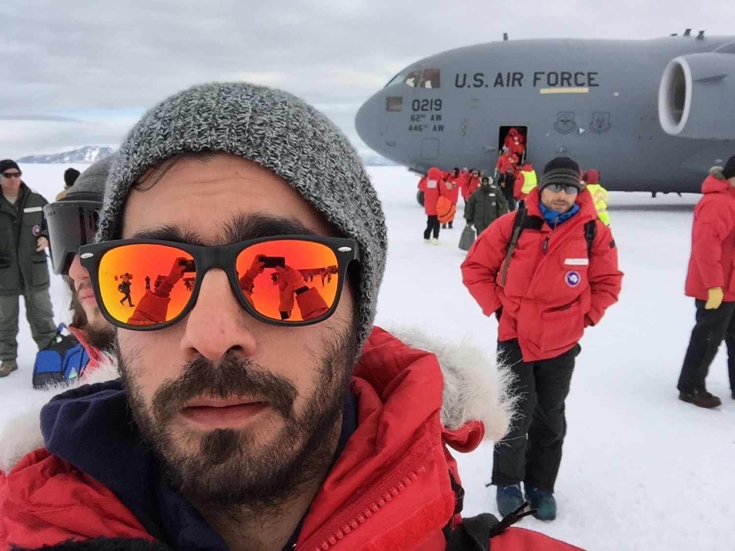 Landing on the Ice. We're offloaded from the C-17 and onto an intimidating transport vehicle called the Cress (I didn't have a chance to snap a good photo). Over my left shoulder is Thomas. This is something like his 14th season down working on precise GPS systems with various scientific applications; there are a lot of Ice addicts, apparently.