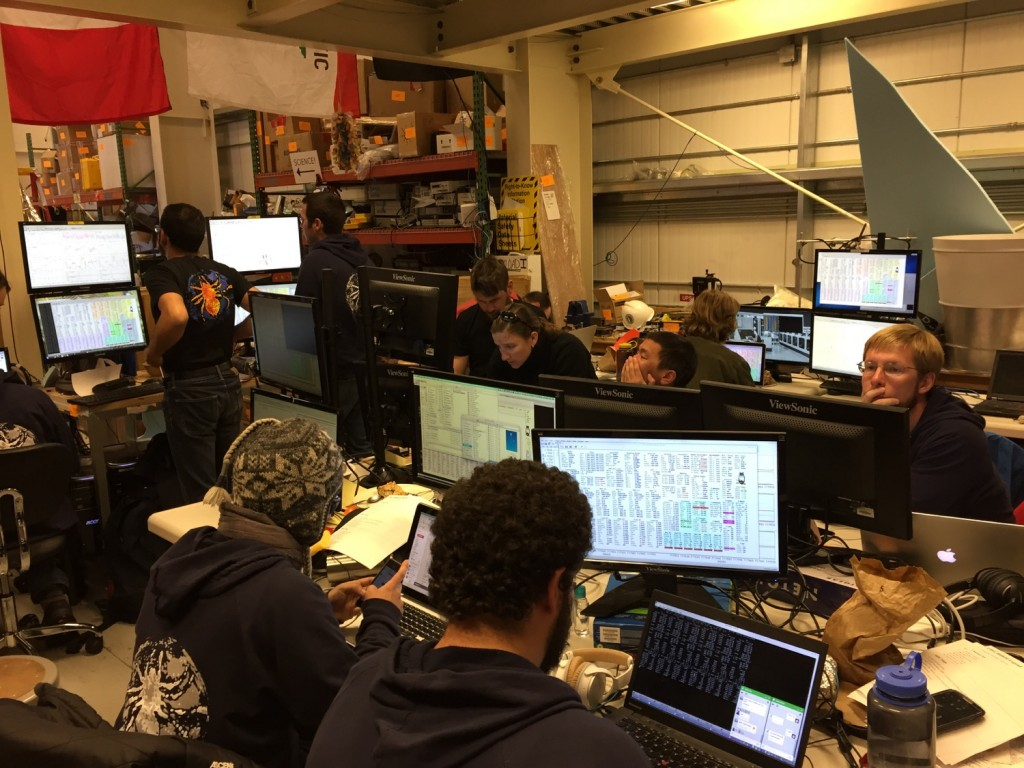 Our command center back inside the highbay with everyone anxiously monitoring the various subsystems (and trying with difficulty to post status updates to Facebook if their subsystem checked out or couldn't yet be tested!)