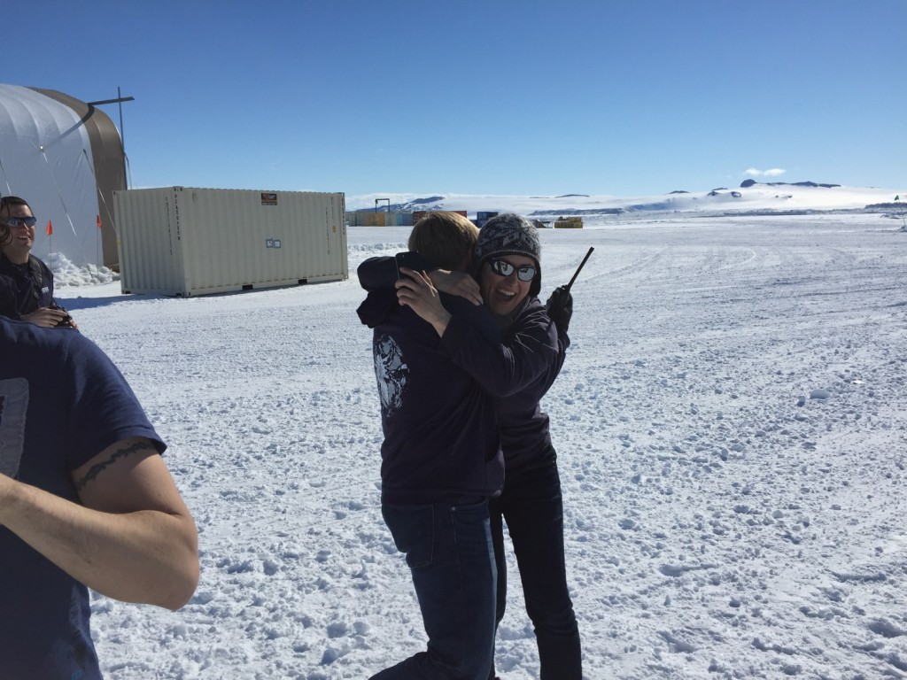 One of the Princeton graduate students, Sasha Rahlin, couldn't contain her excitement and ran around hugging everyone outside observing the launch.