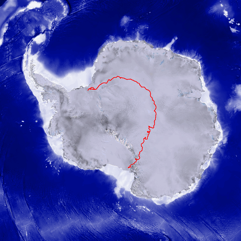 SPIDER's progress on January 14, 2015. The instrument took off from McMurdo Station in the lower left portion of the continent. SPIDER's progress can be tracked in real time here: http://www.csbf.nasa.gov/map/balloon6/flight660n.htm.