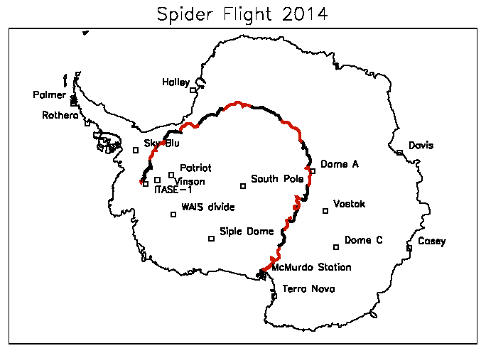 Map of SPIDER's flight. Note the location of the landing site.